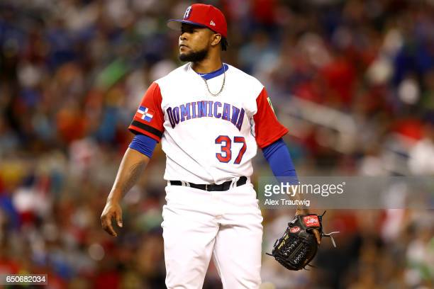 Alex Colome of Team Dominican Republic looks on during to Game 1 of Pool C of the 2017 World Baseball Classic against Team Canada on Thursday March 9...
