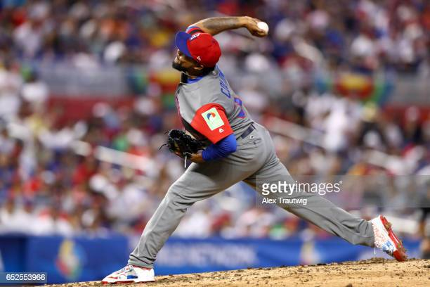 Alex Colome of Team Dominican Republic pitches during Game 5 of Pool C of the 2017 World Baseball Classic against Team Colombia on Sunday March 12...