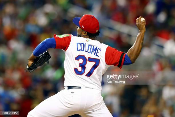 Alex Colome of Team Dominican Republic pitches during to Game 1 of Pool C of the 2017 World Baseball Classic against Team Canada on Thursday March 9...