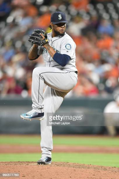Alex Colome of the Seattle Mariners pitches during a baseball game against the Baltimore Orioles at Oriole Park at Camden Yards on June 25 2018 in...