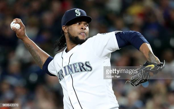 Alex Colome of the Seattle Mariners pitches during the eighth inning against the Tampa Bay Rays during their game at Safeco Field on June 2 2018 in...