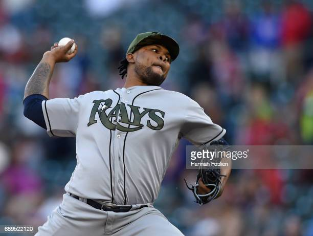 Alex Colome of the Tampa Bay Rays delivers a pitch against the Minnesota Twins during the fourteenth inning of the game on May 28 2017 at Target...
