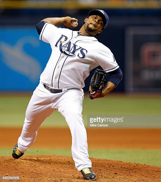 Alex Colome of the Tampa Bay Rays in the ninth inning of his save in a game against the Seattle Mariners at Tropicana Field on June 14 2016 in St...