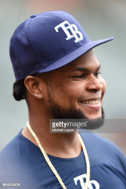 Alex Colome of the Tampa Bay Rays looks on during batting practice of a baseball game against the Baltimore Orioles at Oriole Park at Camden Yards on...