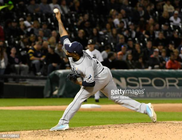 Alex Colome of the Tampa Bay Rays pitches against the Chicago White Sox during the ninth inning on September 1 2017 at Guaranteed Rate Field in...
