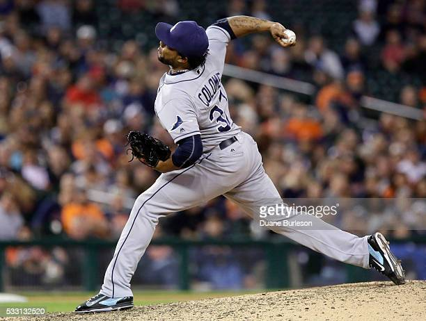 Alex Colome of the Tampa Bay Rays pitches against the Detroit Tigers during the ninth inning at Comerica Park on May 20 2016 in Detroit Michigan...