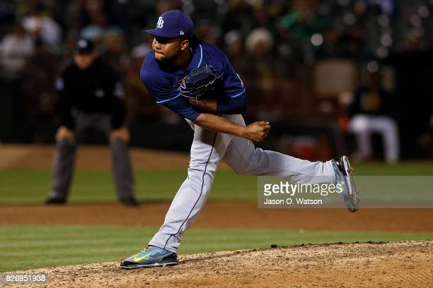 Alex Colome of the Tampa Bay Rays pitches against the Oakland Athletics during the ninth inning at the Oakland Coliseum on July 17 2017 in Oakland...