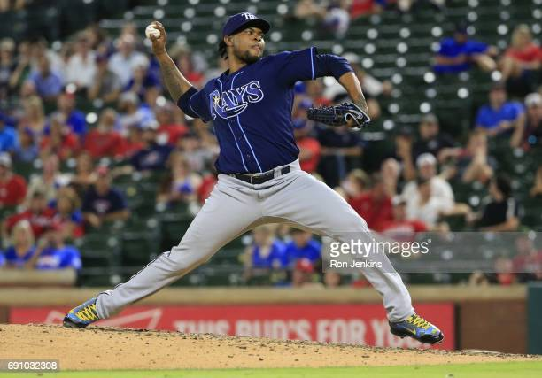 Alex Colome of the Tampa Bay Rays pitches against the Texas Rangers during the tenth inning at Globe Life Park in Arlington on May 31 2017 in...