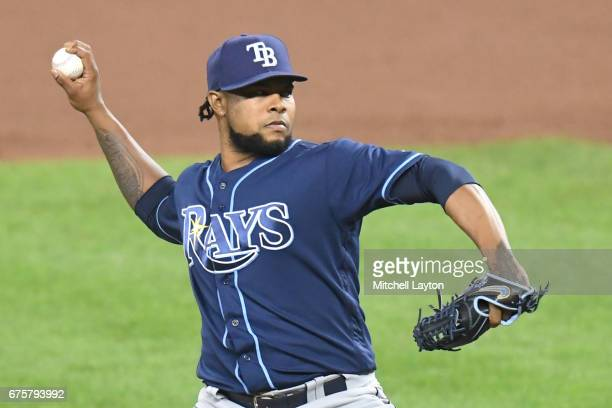 Alex Colome of the Tampa Bay Rays pitches during a baseball game against the Baltimore Orioles at Oriole Park at Camden Yards on April 26 2017 in...