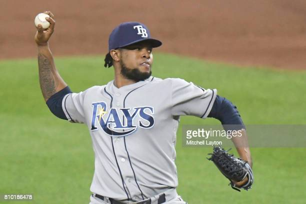 Alex Colome of the Tampa Bay Rays pitches during a baseball game against the Baltimore Orioles at Oriole Park at Camden Yards on June 30 2017 in...