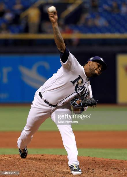 Alex Colome of the Tampa Bay Rays pitches during a game against the Philadelphia Phillies at Tropicana Field on April 13 2018 in St Petersburg Florida