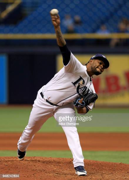 Alex Colome of the Tampa Bay Rays pitches during a game against the Texas Rangers at Tropicana Field on April 18 2018 in St Petersburg Florida