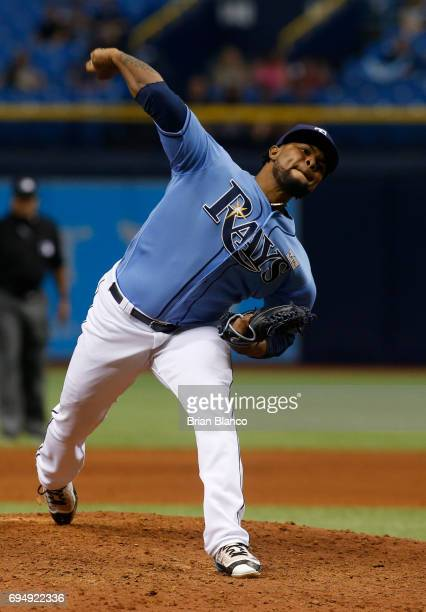 Alex Colome of the Tampa Bay Rays pitches during the ninth inning of a game against the Oakland Athletics on June 11 2017 at Tropicana Field in St...