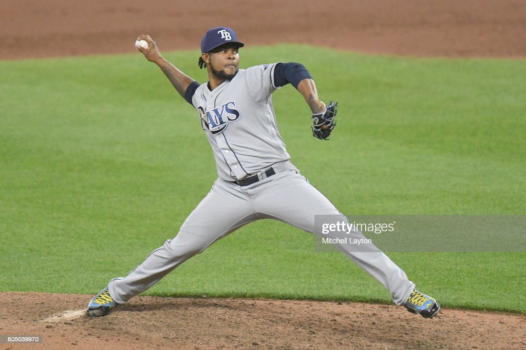 Alex Colome #37 of the Tampa Bay Rays pitches in ten inning for his 21st save during a baseball game against the Baltimore Orioles at Oriole Park at Camden Yards on June 30, 2017 in Baltimore, Maryland. The Rays won 6-4 in ten innings.