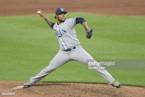 Alex Colome of the Tampa Bay Rays pitches in ten inning for his 21st save during a baseball game against the Baltimore Orioles at Oriole Park at...