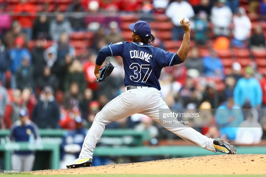 Alex Colome #37 of the Tampa Bay Rays pitches in the bottom of the eighth inning during the game against the Boston Red Sox at Fenway Park on April 8, 2018 in Boston, Massachusetts.