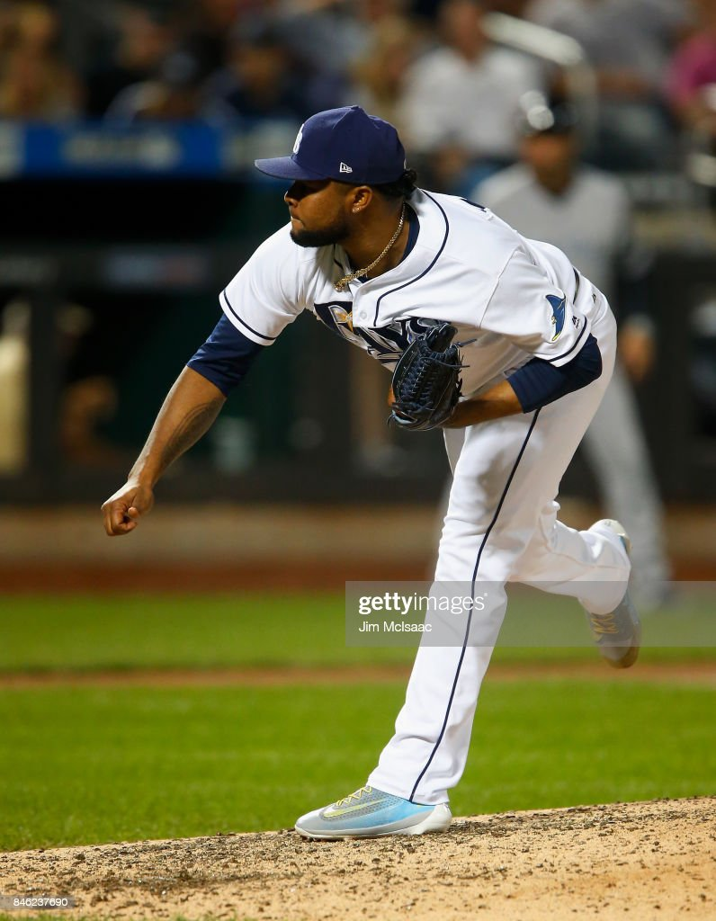 Alex Colome #37 of the Tampa Bay Rays pitches in the ninth inning against the New York Yankees at Citi Field on September 12, 2017 in the Flushing neighborhood of the Queens borough of New York City. The two teams were scheduled to play in St. Petersburg, Florida but due to the weather emergency caused by Hurricane Irma, the game was moved to New York, but with Tampa Bay remaining the 'home' team.