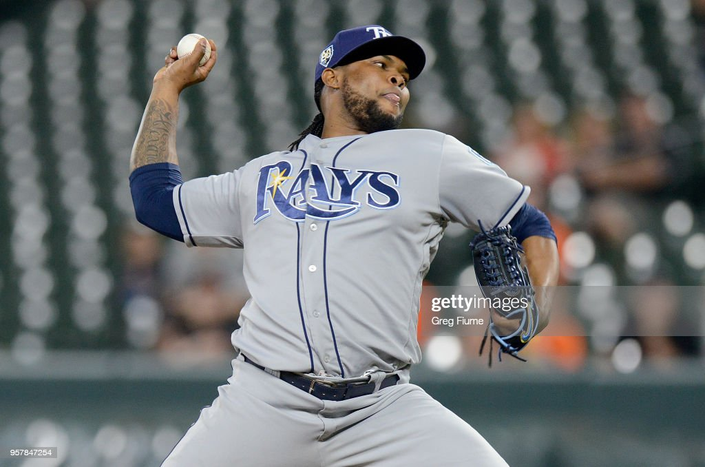 Alex Colome #37 of the Tampa Bay Rays pitches in the ninth inning against the Baltimore Orioles during the second game of a doubleheader at Oriole Park at Camden Yards on May 12, 2018 in Baltimore, Maryland.