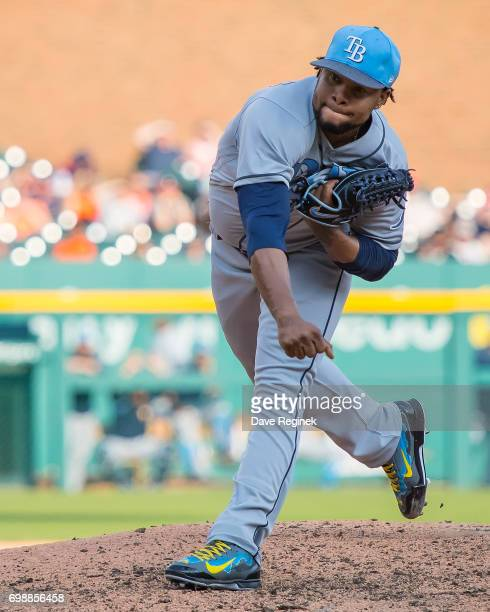 Alex Colome of the Tampa Bay Rays pitches in the seventh inning during a MLB game against the Detroit Tigers at Comerica Park on June 17 2017 in...