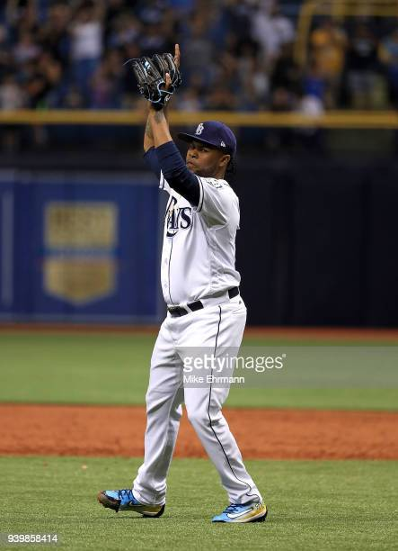 Alex Colome of the Tampa Bay Rays reacts to winning a game against the Boston Red Sox on Opening Day at Tropicana Field on March 29 2018 in St...