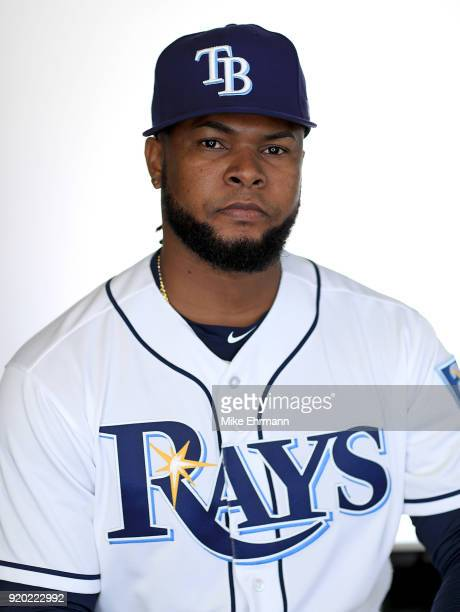 Alex Colome of the Tampa Bay Rays sits for a portrait during photo day at Charlotte Sports Park on February 18 2018 in Port Charlotte Florida