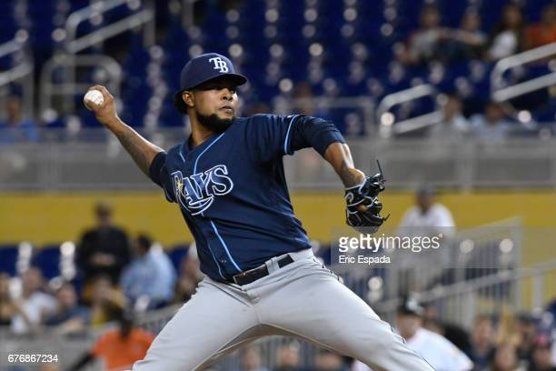 Alex Colome of the Tampa Bay Rays throws a pitch during the ninth inning against the Miami Marlins at Marlins Park on May 2 2017 in Miami Florida