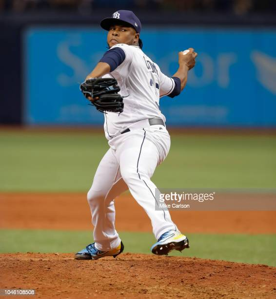 Alex Colome of the Tampa Bay Rays throws during the game between the Boston Red Sox and the Tampa Bay Rays at Tropicana Field on Thursday March 29...