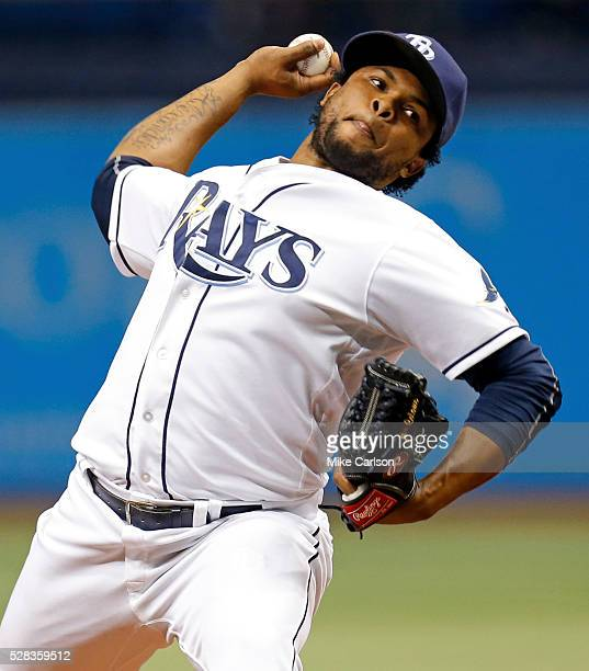 Alex Colome of the Tampa Bay Rays throws during the ninth inning of a game against the Los Angeles Dodgers at Tropicana Field on May 4 2016 in St...