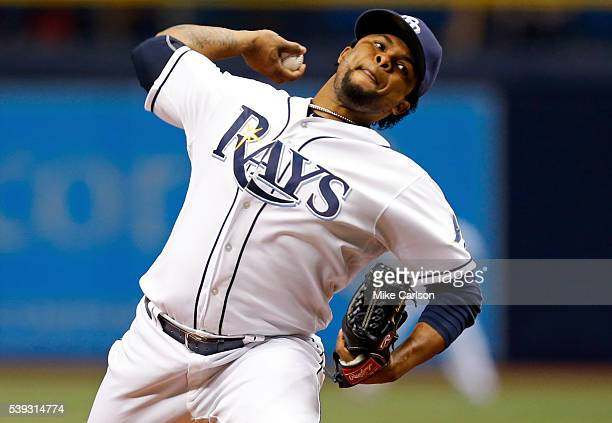 Alex Colome of the Tampa Bay Rays throws during the ninth inning of a game against the Houston Astros at Tropicana Field on June 10 2016 in St...