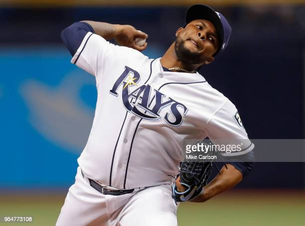 Alex Colome of the Tampa Bay Rays throws in the ninth inning of a baseball game against the Toronto Blue Jays at Tropicana Field on May 4 2018 in St...