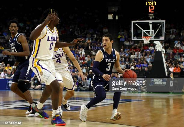 Alex Copeland of the Yale Bulldogs during the first round of the 2019 NCAA Men's Basketball Tournament at VyStar Jacksonville Veterans Memorial Arena...