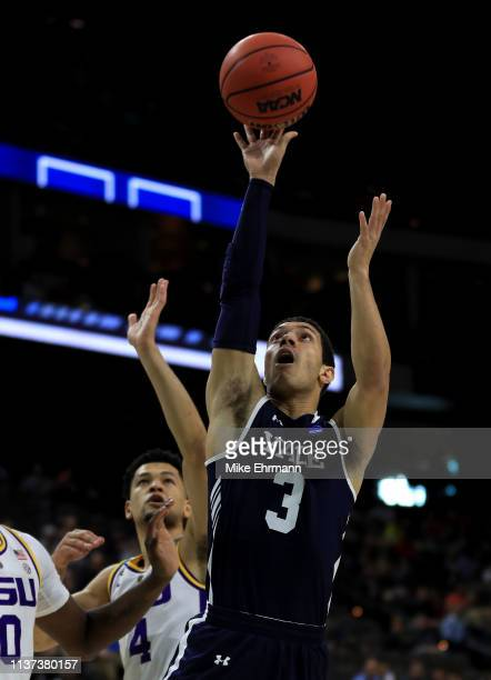 Alex Copeland of the Yale Bulldogs takes a shot against the LSU Tigers in the first half during the first round of the 2019 NCAA Men's Basketball...