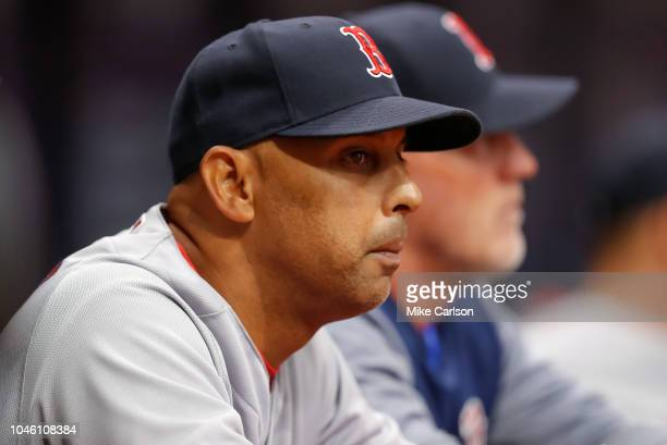 Alex Cora of the Boston Red Sox during the game between the Boston Red Sox and the Tampa Bay Rays at Tropicana Field on Thursday March 29 2018 in...