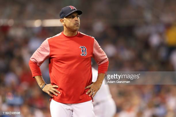 Alex Cora of the Boston Red Sox looks on during a game against the New York Yankees at Fenway Park on July 25, 2019 in Boston, Massachusetts.