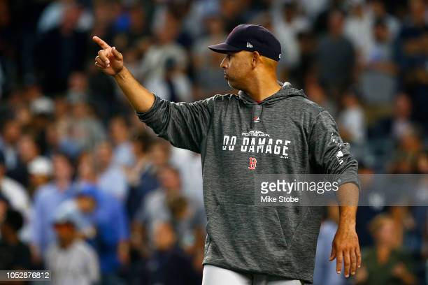 Alex Cora of the Boston Red Sox reacts against the New York Yankees during the eighth inning in Game Four of the American League Division Series at...
