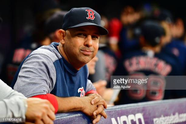 Alex Cora of the Boston Red Sox reacts during a game against the Tampa Bay Rays at Tropicana Field on September 20 2019 in St Petersburg Florida