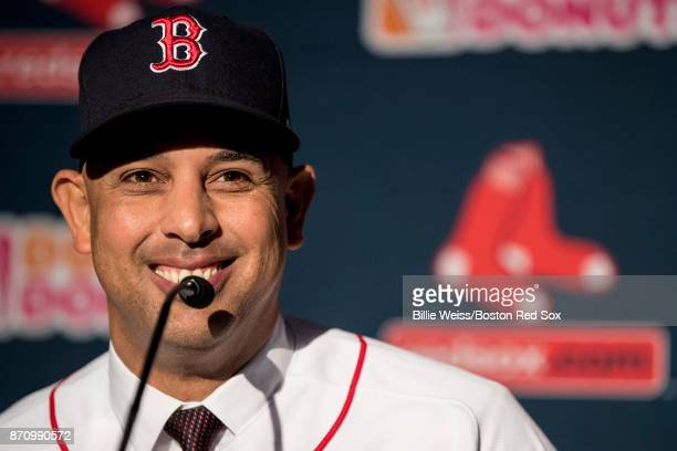 Alex Cora speaks during a press conference introducing him as the next manager of the Boston Red Sox on November 6 2017 at Fenway Park in Boston...
