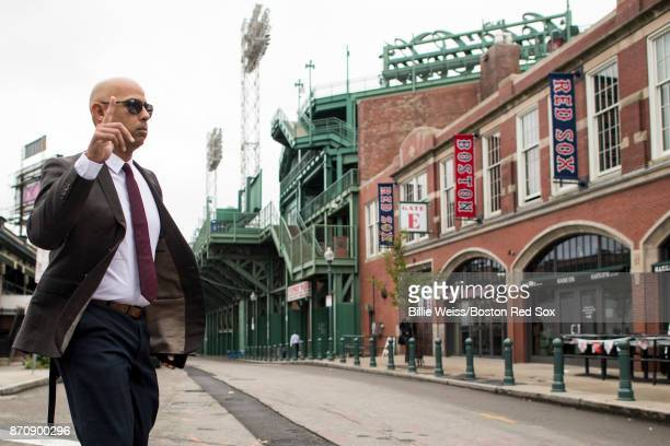 Alex Cora walks to the stadium before a press conference introducing him as the next manager of the Boston Red Sox on November 6 2017 at Fenway Park...