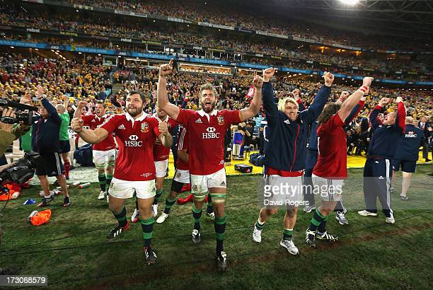 Alex Corbisiero Geoff Parling and Richard Hibbard celebrate after their victory during the International Test match between the Australian Wallabies...