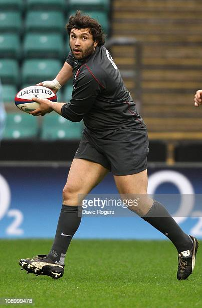 Alex Corbisiero, who will make his England debut in the match against Italy passes the ball during the England training session held at Twickenham...