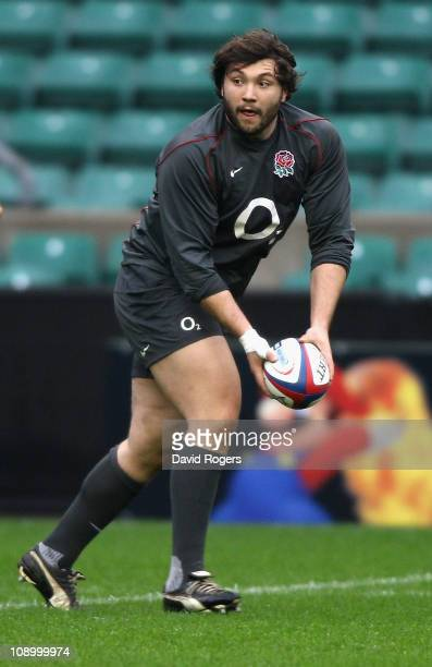 Alex Corbisiero, who will make his England debut in the match against Italy, runs with the ball during the England training session held at...