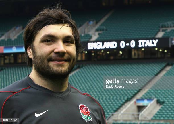 Alex Corbisiero, who will replace the injured Andrew Sheridan, poses during the England training session held at Twickenham Stadium on February 11,...