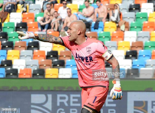 Alex Cordaz goalkeeper of Crotone reacts during the serie A match between Udinese Calcio and FC Crotone at Stadio Friuli on April 22 2018 in Udine...