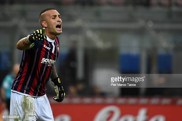 Alex Cordaz goalkeeper of FC Crotone gestures during the Serie A match between FC Internazionale and FC Crotone at Stadio Giuseppe Meazza on November...