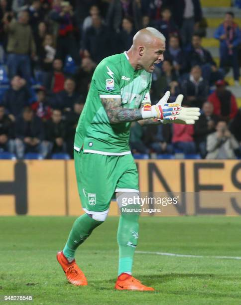 Alex Cordaz of Crotone during the serie A match between FC Crotone and Juventus at Stadio Comunale Ezio Scida on April 18 2018 in Crotone Italy