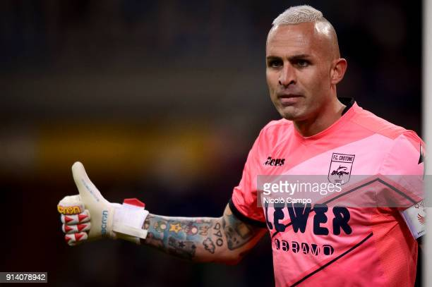 Alex Cordaz of FC Crotone gestures during the Serie A football match between FC Internazionale and FC Crotone The match ended in a 11 tie
