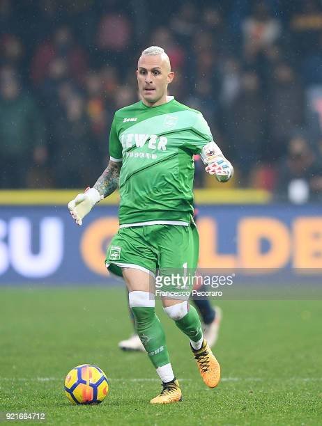 Alex Cordaz of FC Crotone in action during the serie A match between Benevento Calcio and FC Crotone at Stadio Ciro Vigorito on February 18 2018 in...