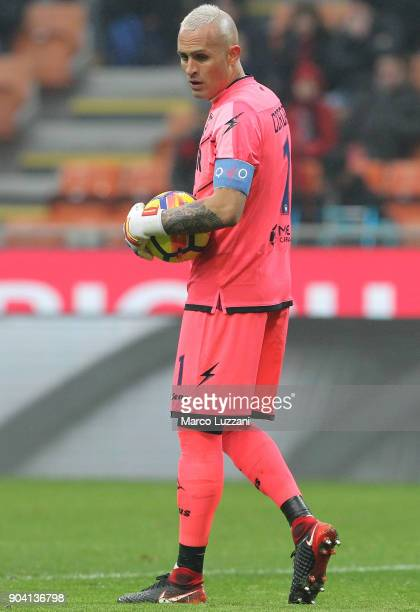 Alex Cordaz of FC Crotone looks on during the serie A match between AC Milan and FC Crotone at Stadio Giuseppe Meazza on January 6 2018 in Milan Italy