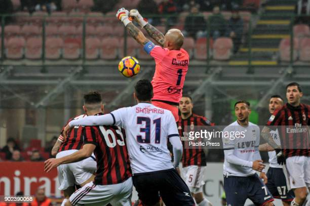 Alex Cordaz of FC Crotone on Leonardo Bonucci that score the first goal for AC Milan during Serie A football AC Milan versus Crotone AC Milan wins...