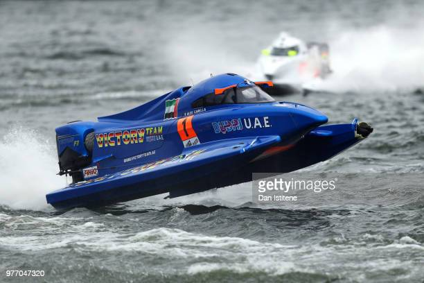 Alex Corella of Italy and Victory Team competes with damage to his boat before rolling during round two of the 2018 Championship the F1H2O UIM...